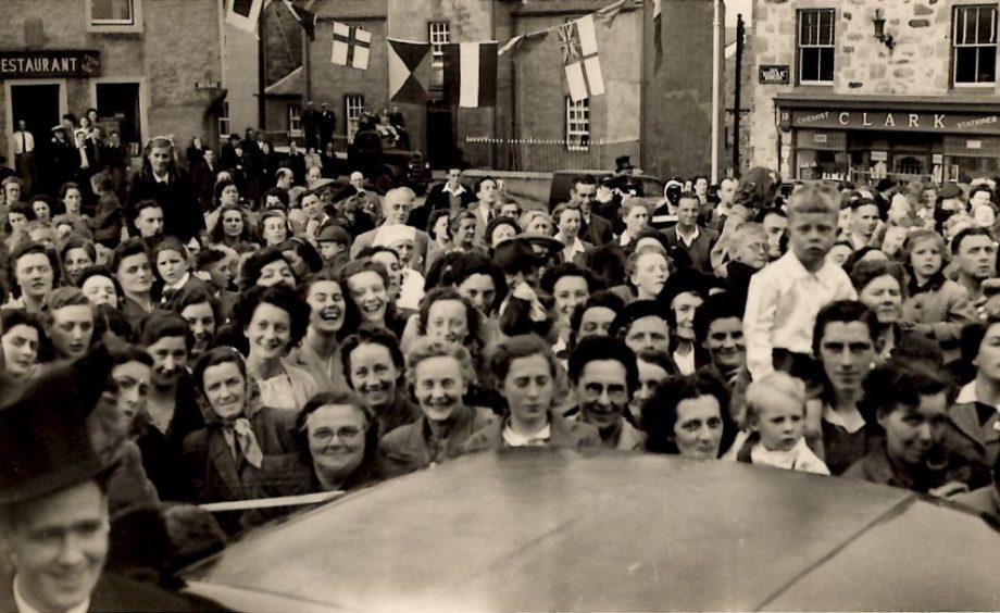 People in Portsoy celebrate VE Day.
