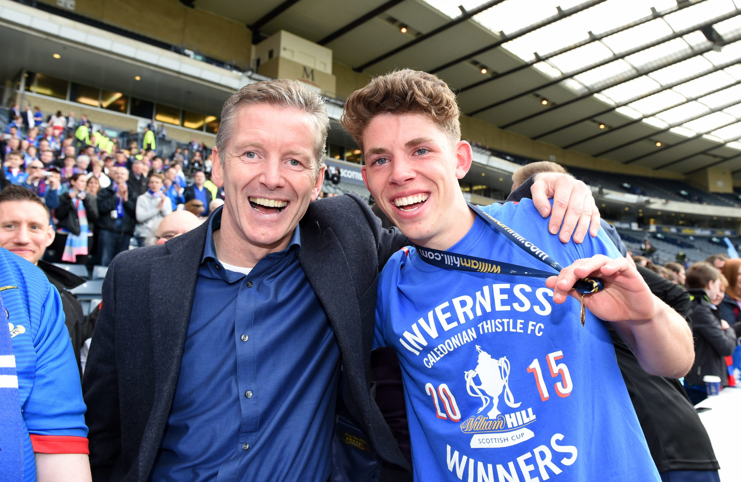 Ryan Christie (right) celebrates winning the 2015 Scottish Cup with his dad Charlie.