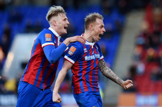 Carl Tremarco celebrates the goal which won Caley Thistle the Irn-Bru Cup in 2018.