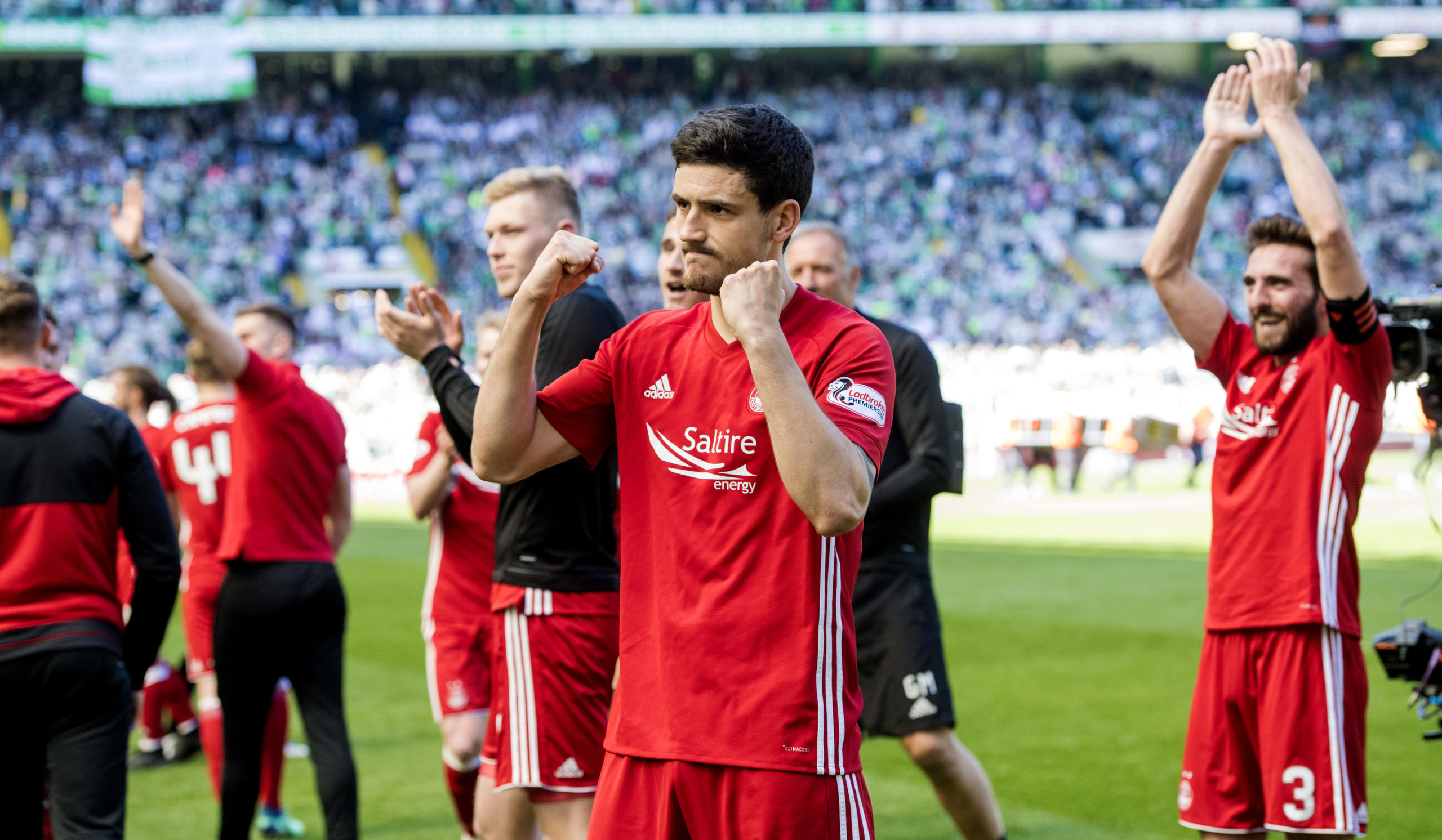 Former Aberdeen defender Anthony O'Connor celebrates the final day win at Parkhead in 2018.
