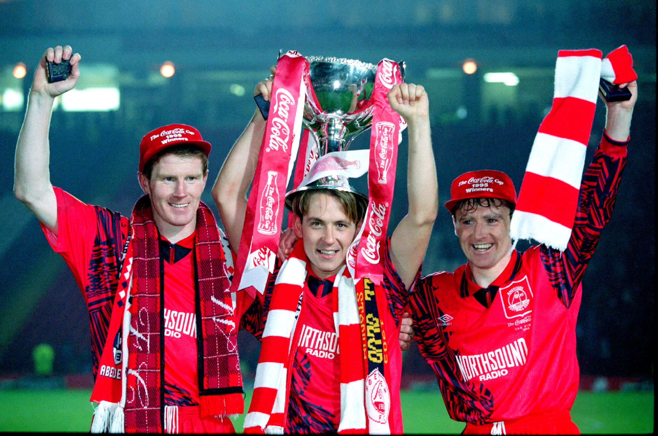 Duncan Shearer, left, Billy Dodds and Stewart McKimmie celebrate winning the Coca-Cola Cup in 1995.