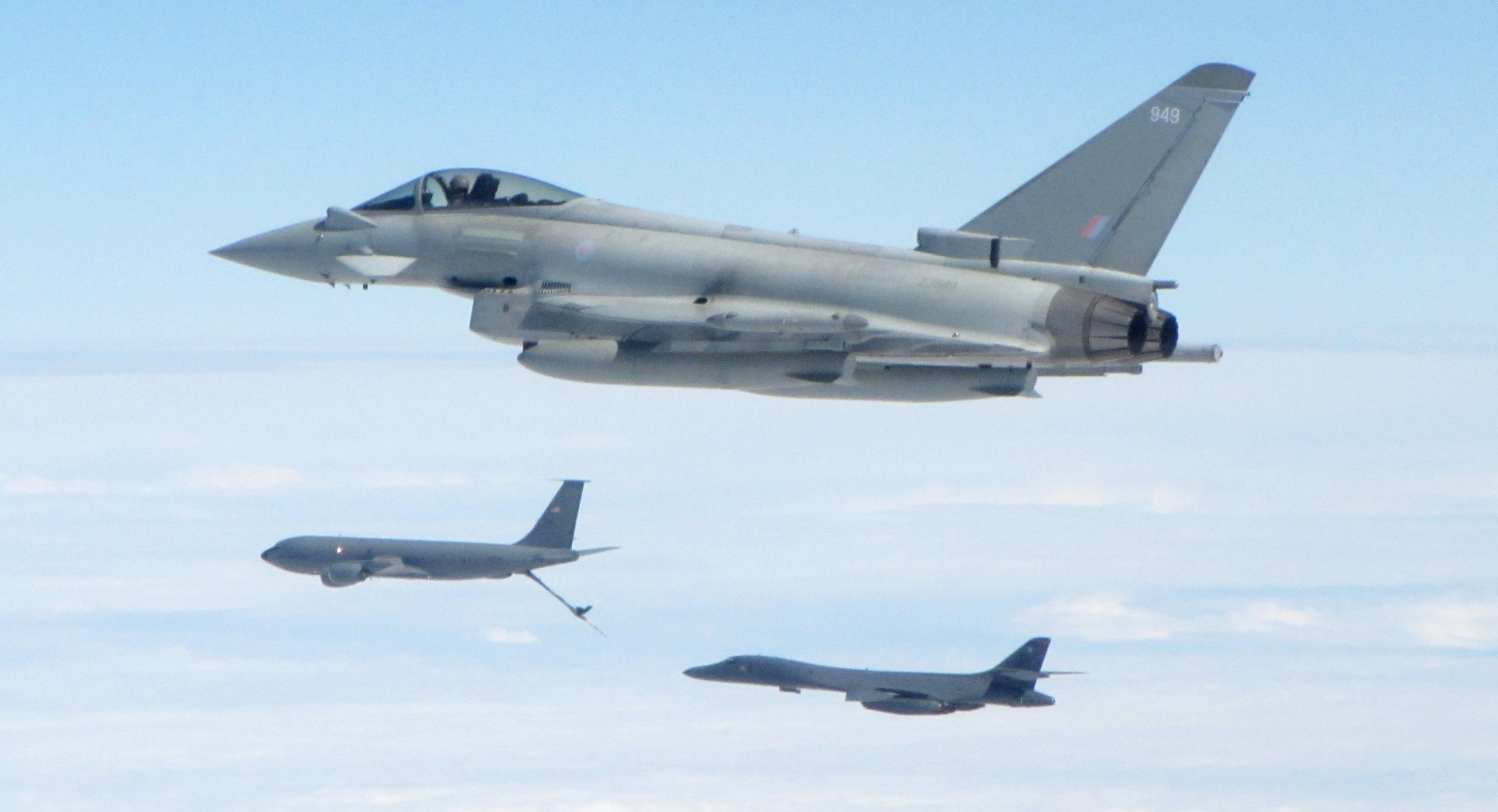 Typhoons based at RAF Lossiemouth escorting a US bomber.