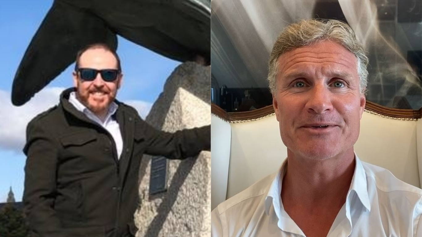 Neil Bremner, left, received a message from racing legend David Coulthard, right