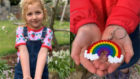 Helena Adams, 5,and one of the keychains she's crafted.