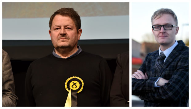 Alastair Bews, left, quit the SNP group soon after fellow Aberdeenshire Councillor Leigh Wilson, right, did the same. Both are continuing as independents.