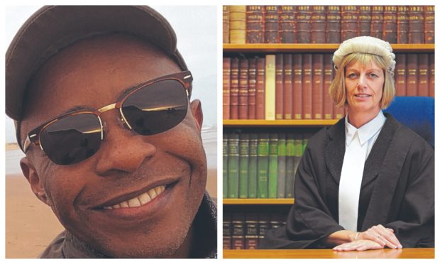 Mohamed Bakari Chache, 50, died after driving his bus into the parapet of Littlemill Bridge; right, Sheriff Margaret Neilson