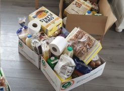 Emergency food boxes have been put together.