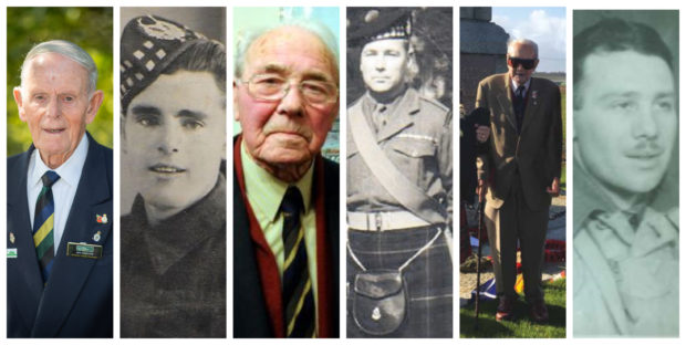 From left to right, alongside photos taken during the Second World War, Jim Glennie, 94, Alex Sim, 98, and Thomas Elvet Davies, 103.
