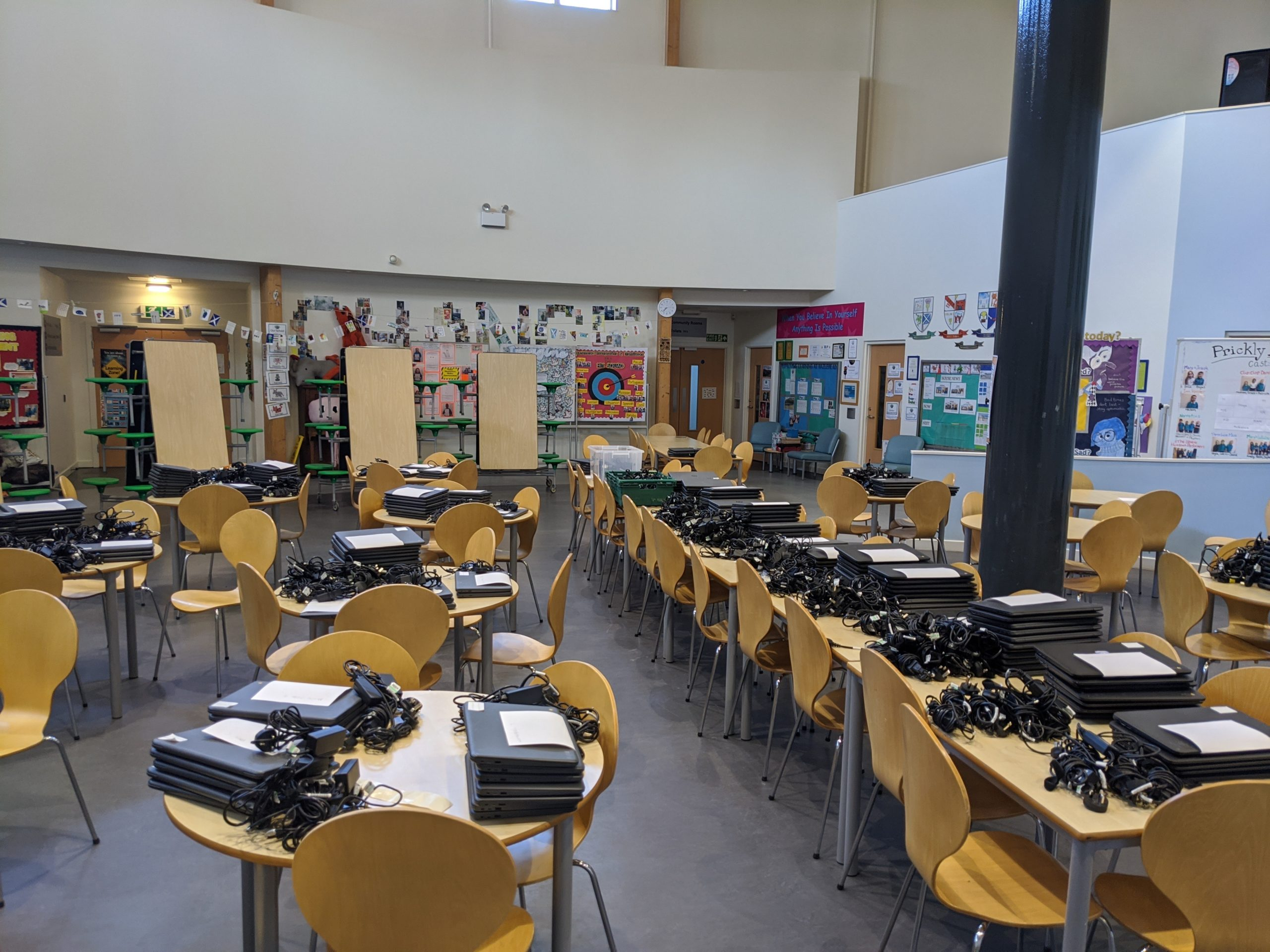 2,400 iPads and Chromebooks ready for donation.