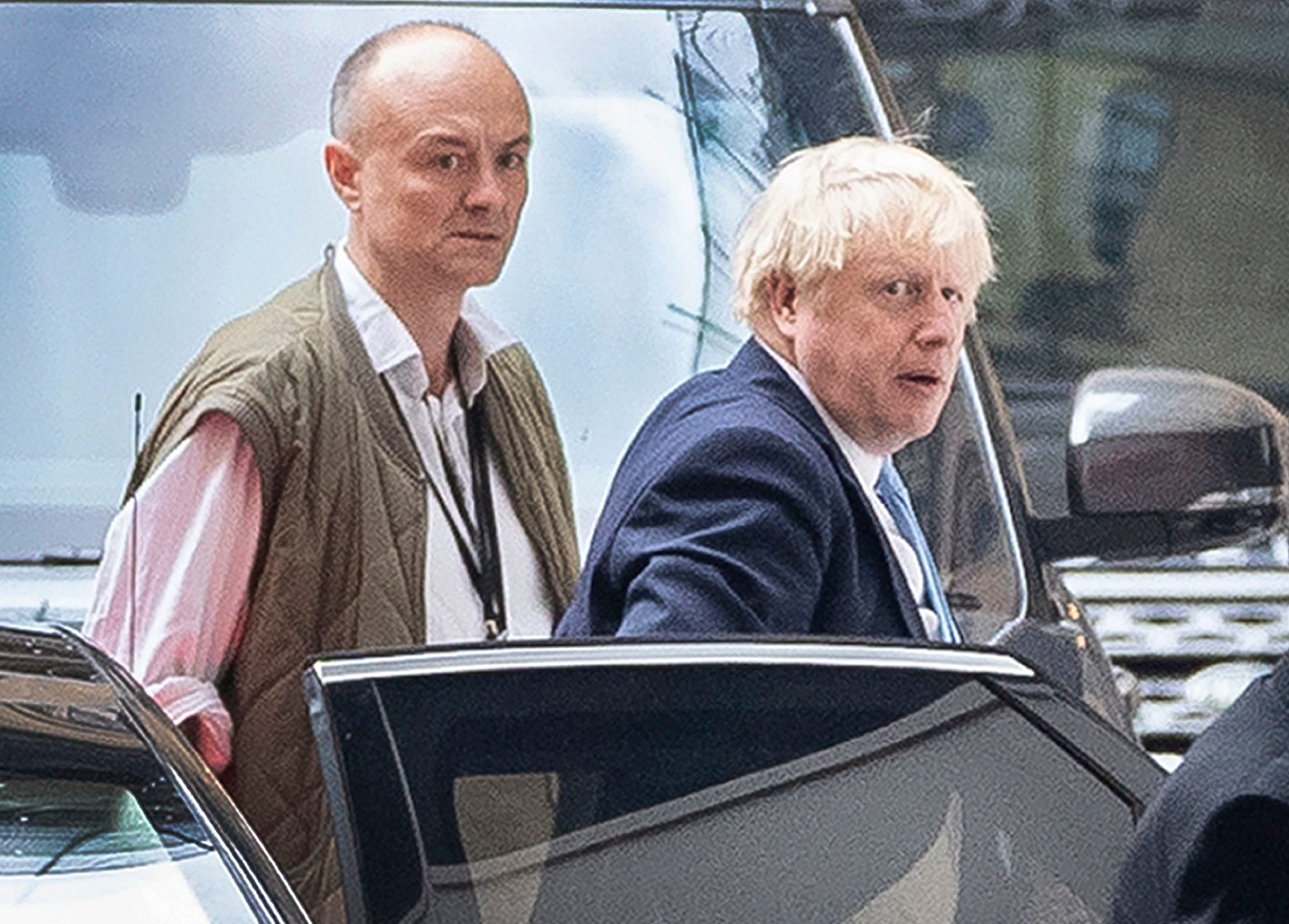 Prime Minister Boris Johnson arrives at Parliament with his special advisor Dominic Cummings.