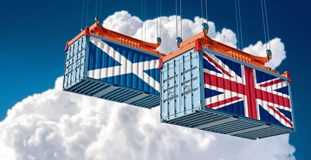 Freight container with United Kingdom and Scotland national flag. 3d rendering ; Shutterstock ID 1580940835; Purchase Order: -