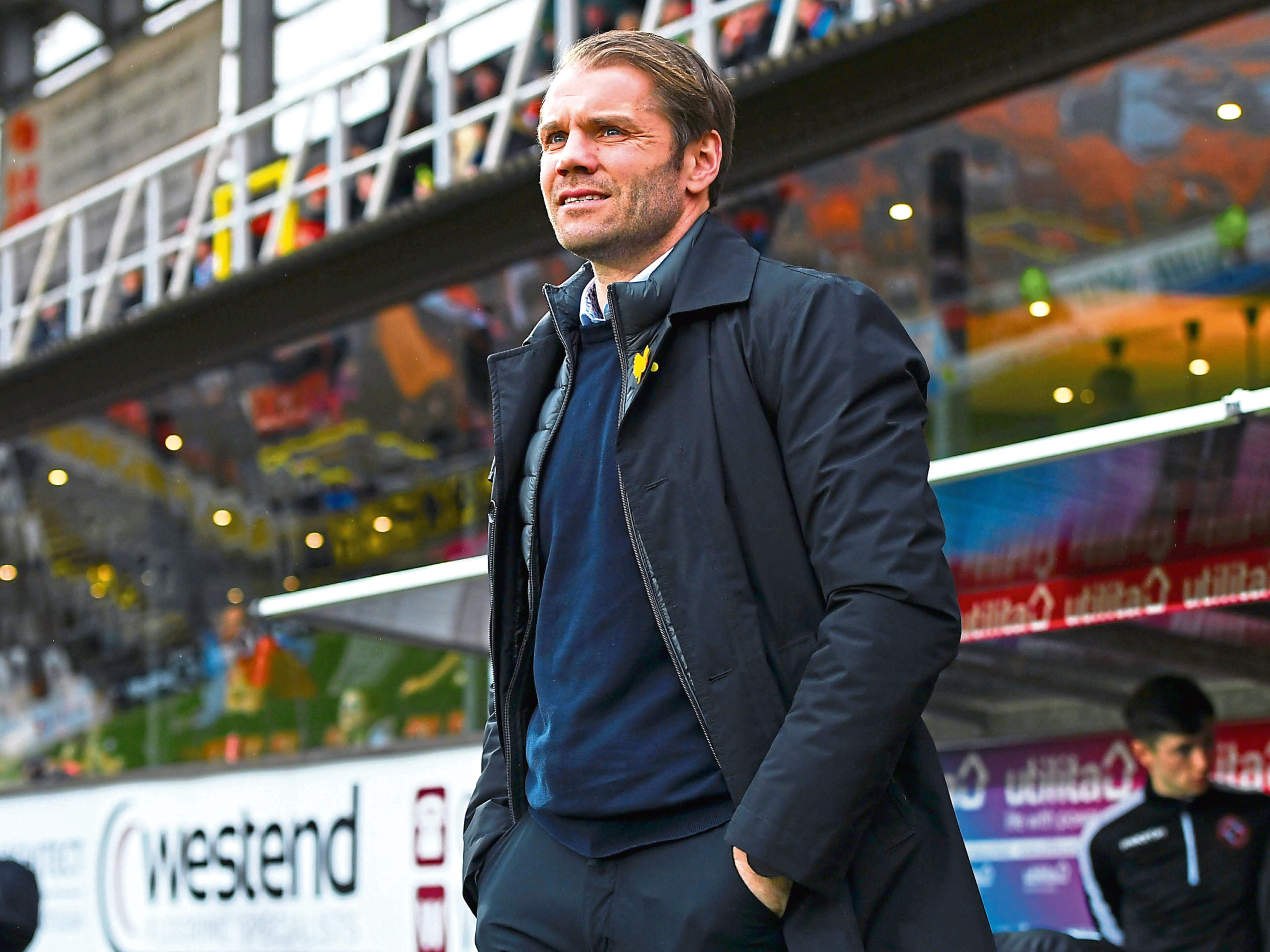 DUNDEE, SCOTLAND - MARCH 07: Dundee Utd manager Robbie Neilson during the Ladbrokes Championship match between Dundee United and Partick Thistle at Tannadice Stadium on March 07, 2020, in Dundee, Scotland. (Photo by Ross MacDonald / SNS Group)