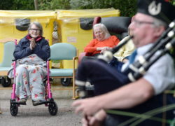 Pictured is a piper playing to residents at Haven Court Care Home, Stonehaven. Picture by DARRELL BENNS