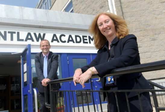 Aberdeenshire Council's Laurence Findlay and head teacher Linda Duthie at Mintlaw Academy, which is preparing for the return of pupils in August. Picture by Kath Flannery