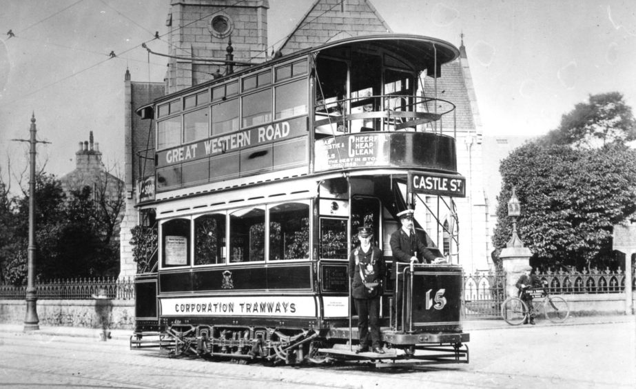 Tram 15 in service at Mannofield terminus not long after it had been fitted with a top cover in the 1920s.
