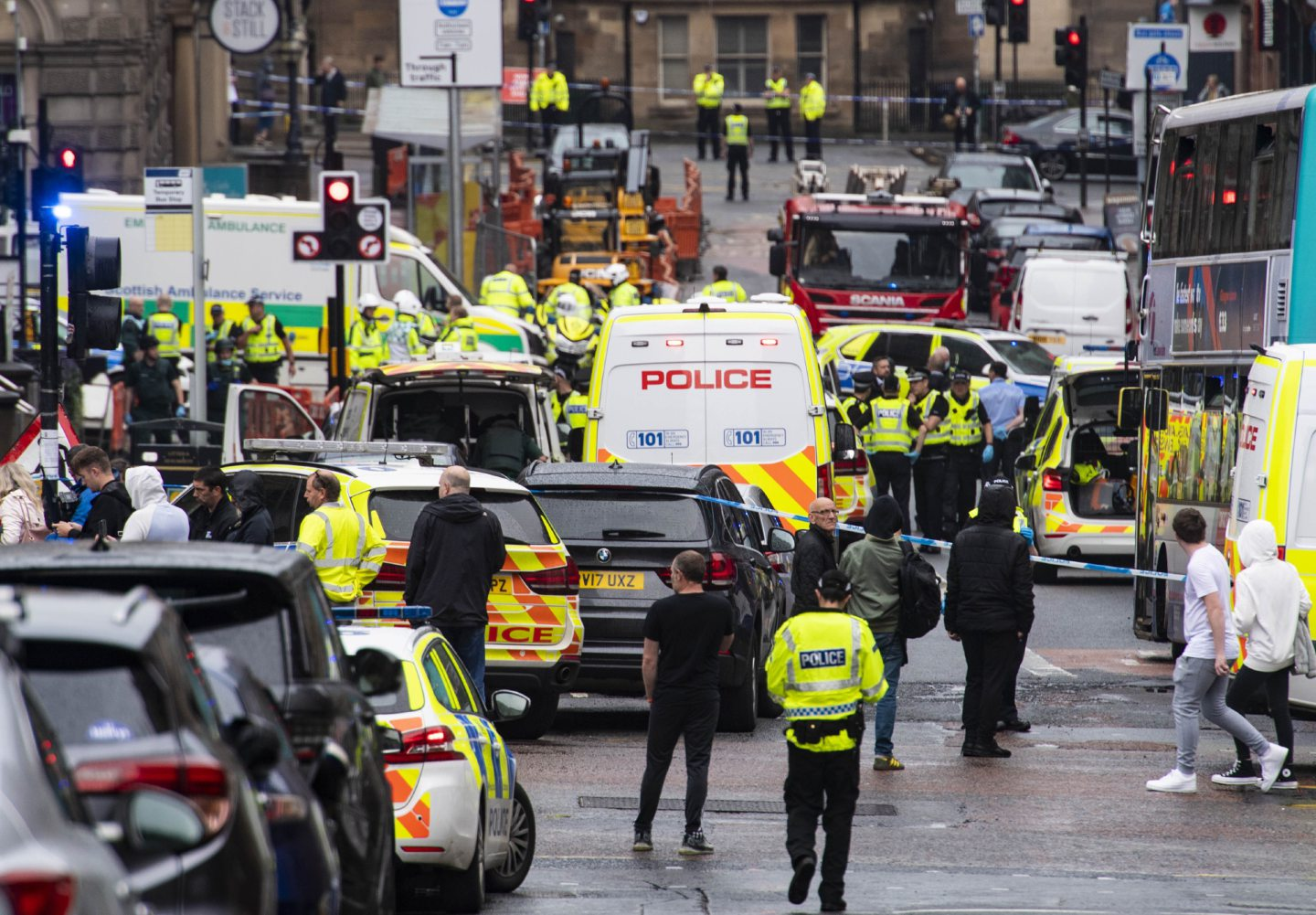 Police respond to major incident on West George Street in Glasgow.