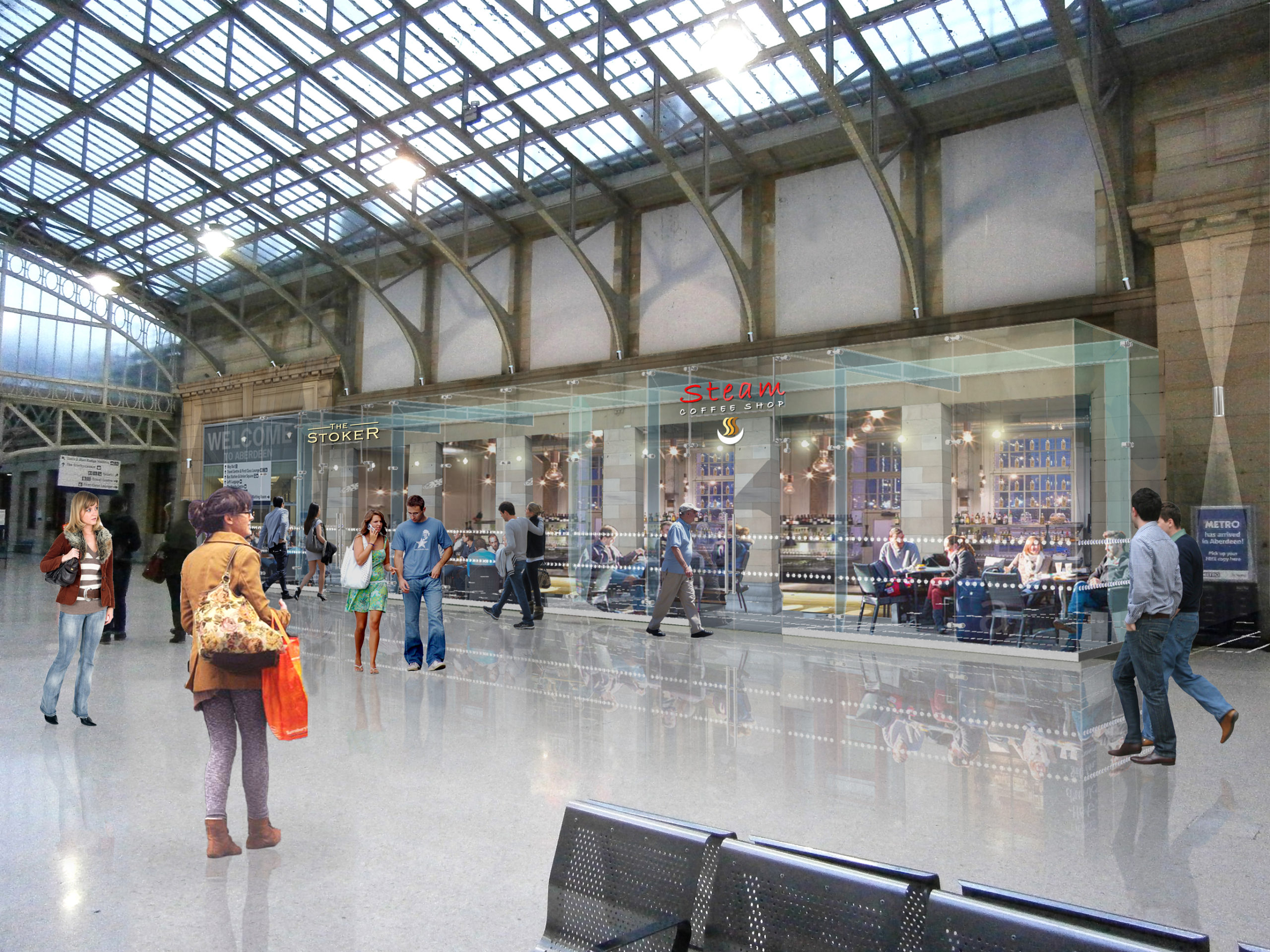 An artist's impression of how the concourse at Aberdeen train station will look after redevelopment.