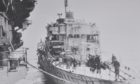 An arctic convoy ship during the Second World War.