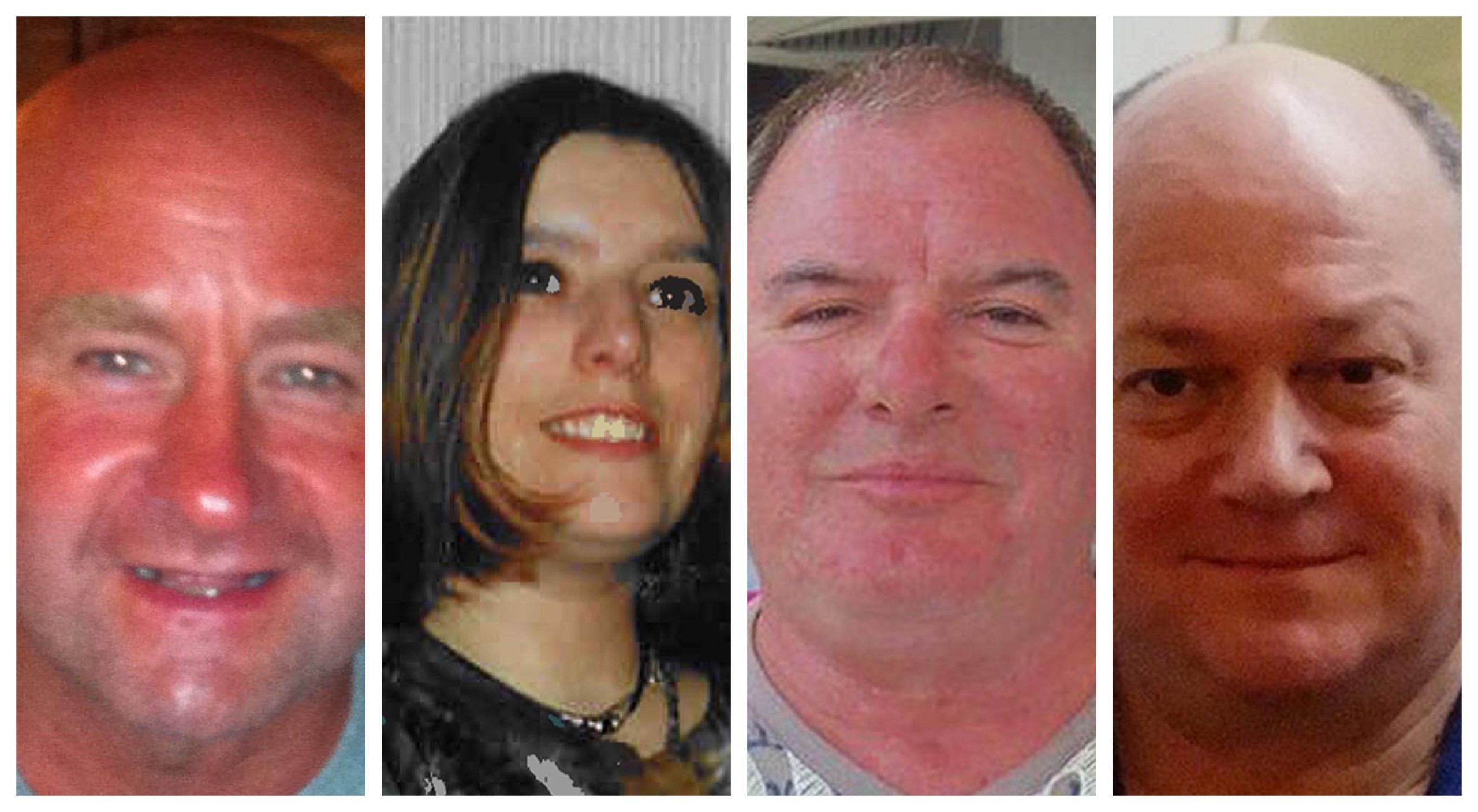L-R: Duncan Munro, Sarah Darnley, Gary McCrossan and George Allison all died in the tragedy.
