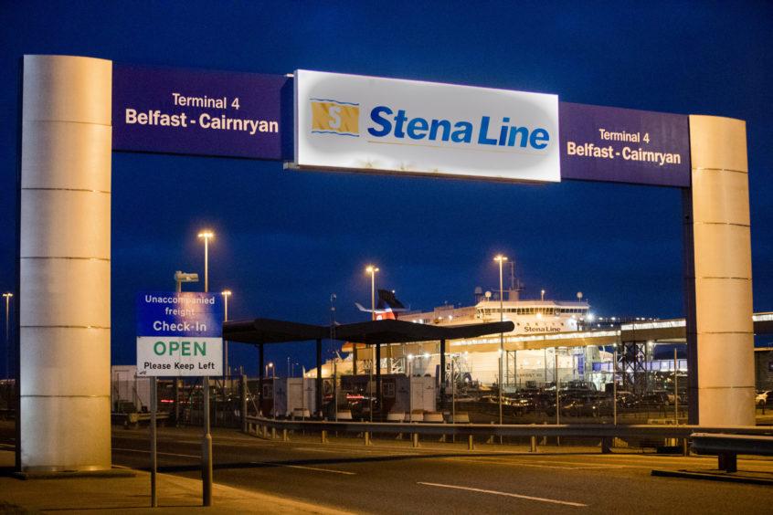 The Northern Ireland to Scotland ferry port in Belfast Harbour.