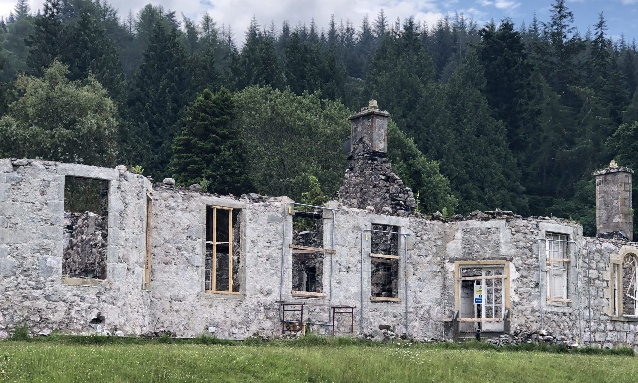Boleskine House with concrete render removed