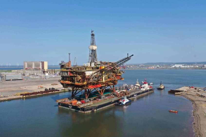 Brent Alpha has arrived at Able UK's Seaton port in Teesside for dismantling.