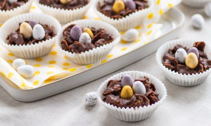 Peanut butter chocolate cornflake nests.