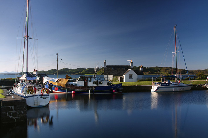 The Crinan Canal at Crinan Basin, looking on to the Sound of Jura, Argyll and Bute.