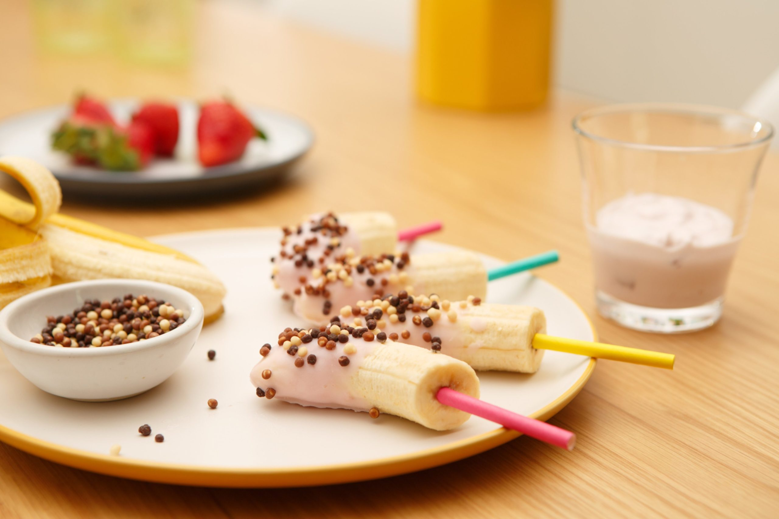 Curious George inspired banana lollies.