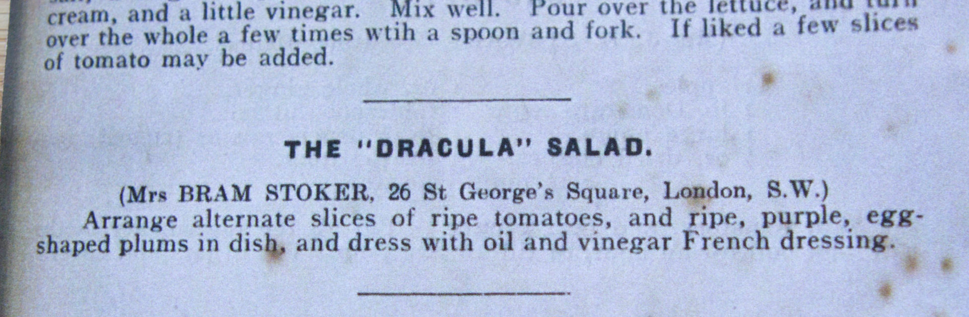The wife of Bram Stoker created a special Dracula Salad. Pic: Frigg Photography.