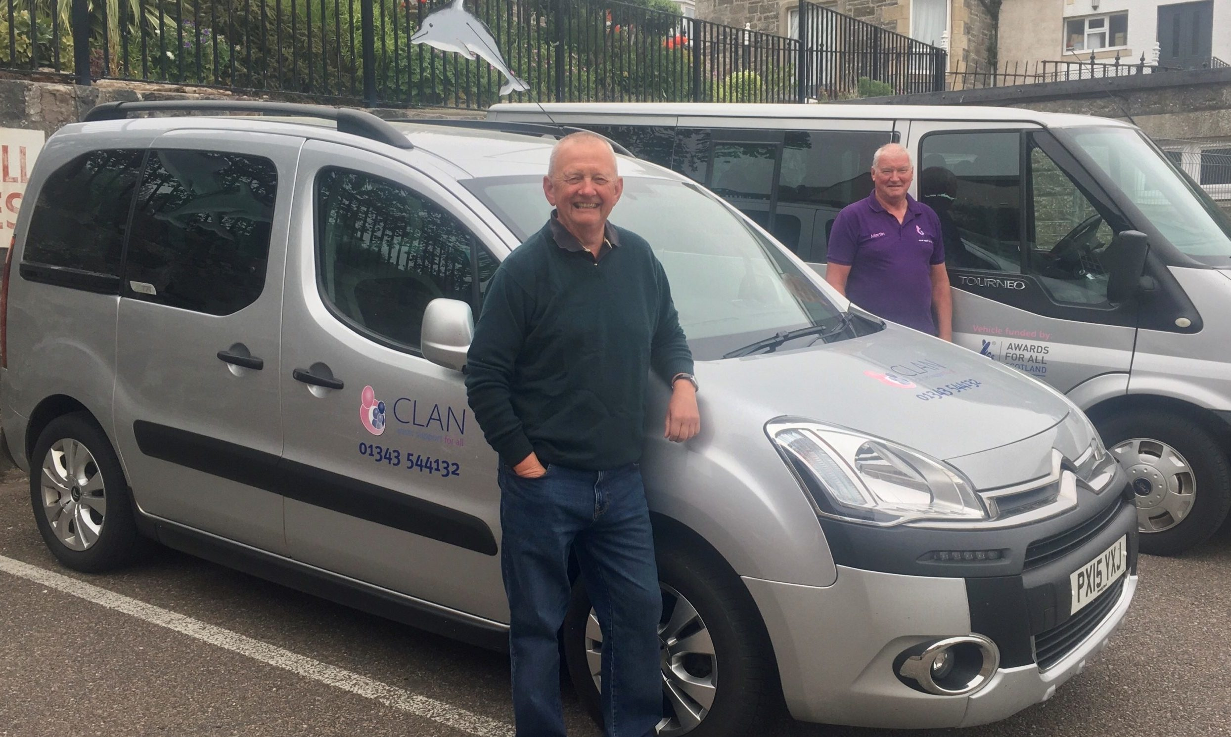 Volunteer drivers David Paterson and Martin Douglas are helping to take people to their appointments.