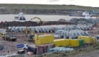 The ongoing upgrade at Aberdeen Harbour at Nigg Bay.   Picture by KENNY ELRICK