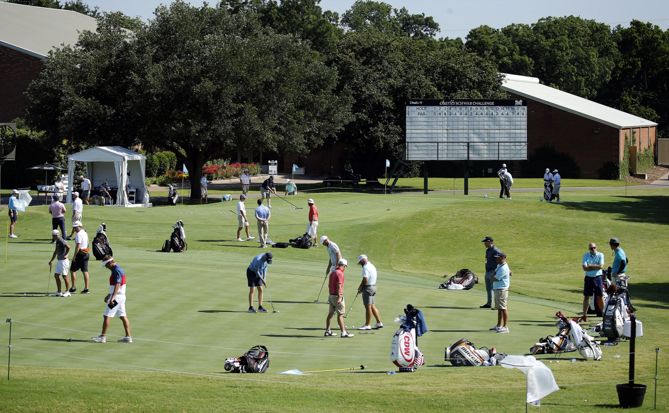 Players practising ahead of the Charles Schwab Challenge a couple of weeks ago.