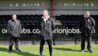 Clachnacuddin manager Sandy McLeod (centre), with coaches Gary Farquhar (left) and Jordan MacDonald (right).