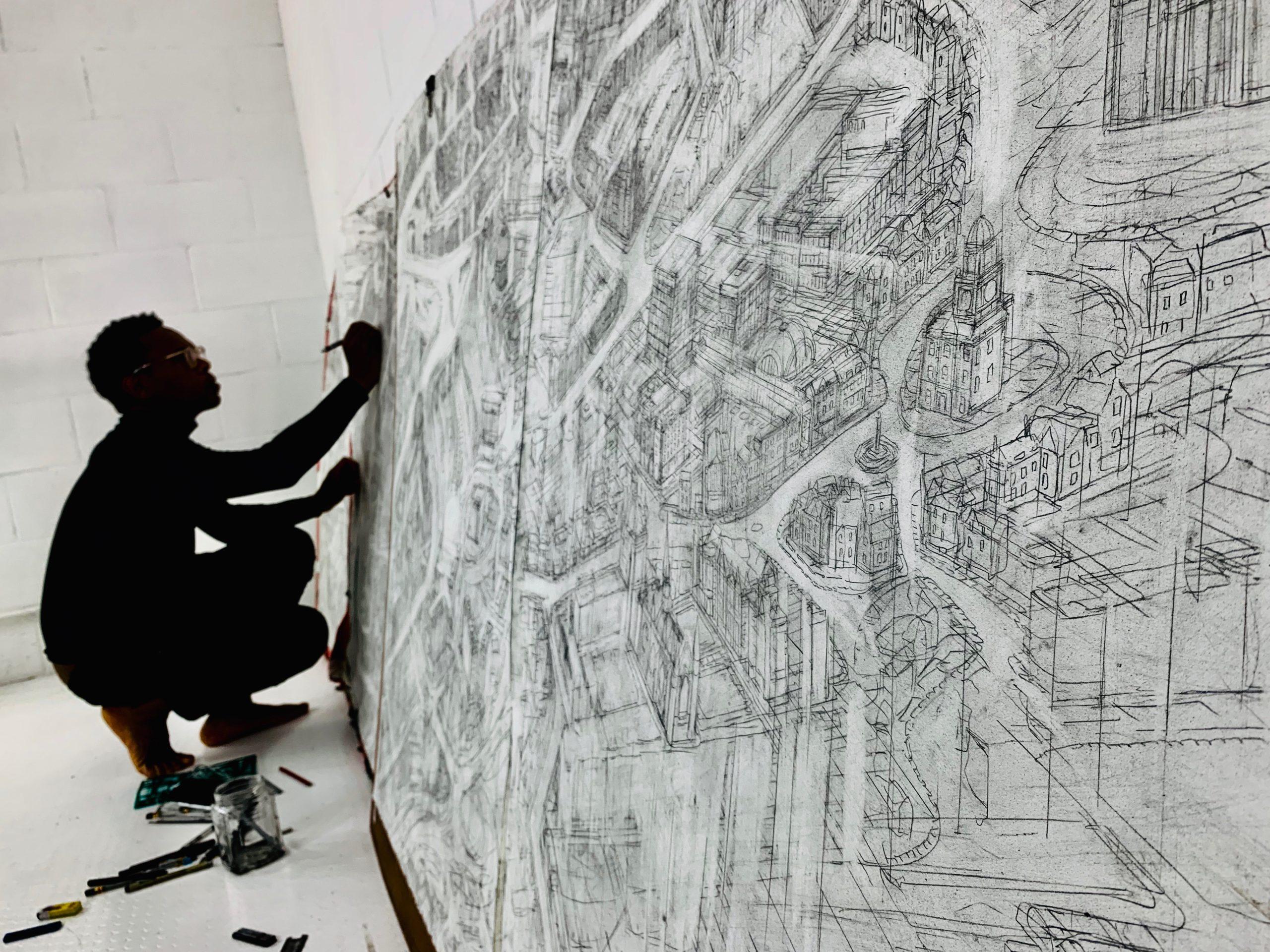 Carl Lavia sketching Aberdeen
