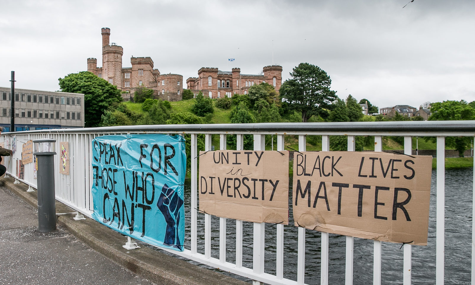 Signs and banners in support of Black Lives Matter on the Ness Bridge.
