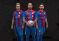 Miles Storey, James Vincent and James Keatings modelling Caley Thistle's kit for the 2020-21 season.     Pic Trevor Martin
