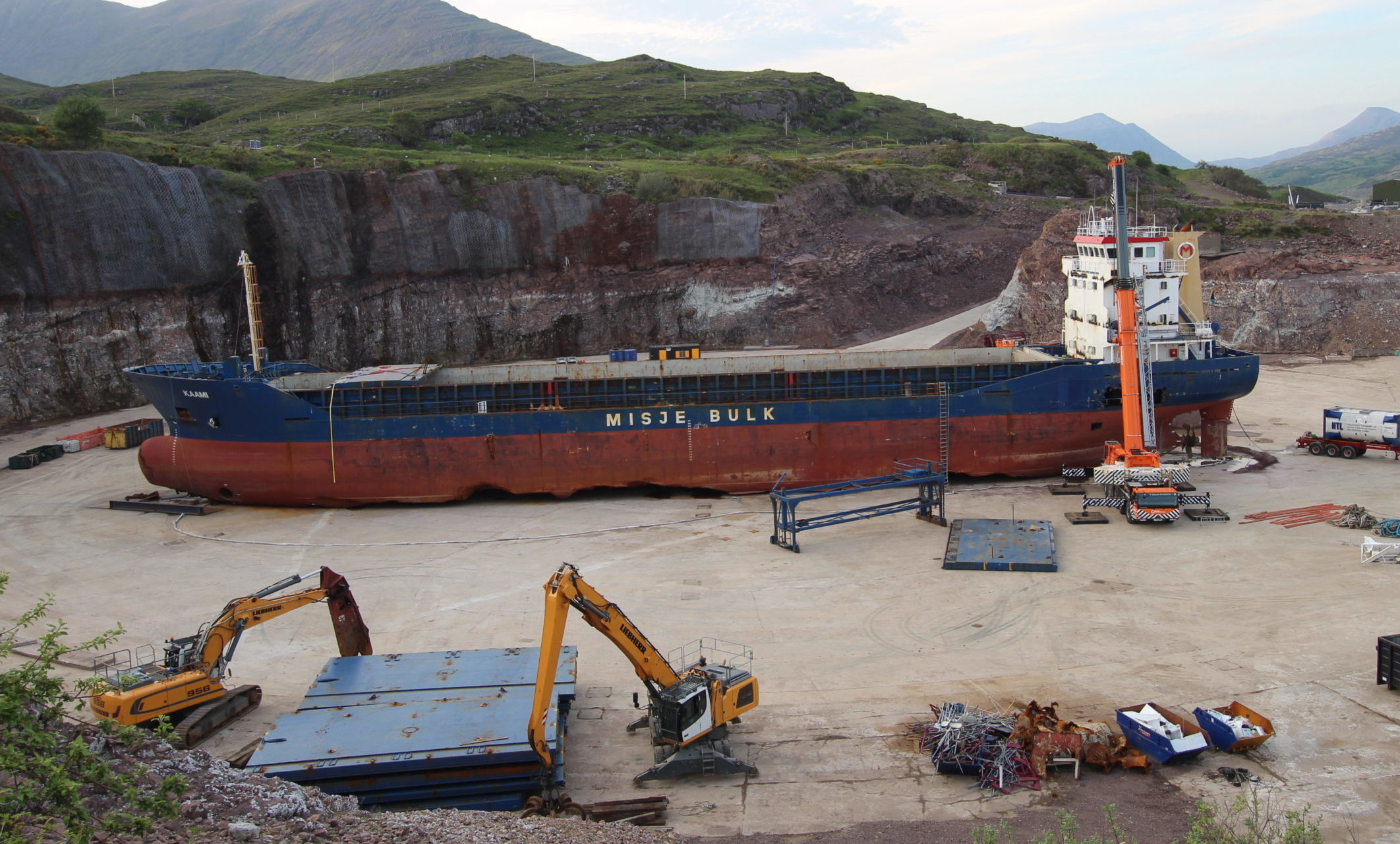The decommissioned MV Kaami at Loch Kishorn dry dock.