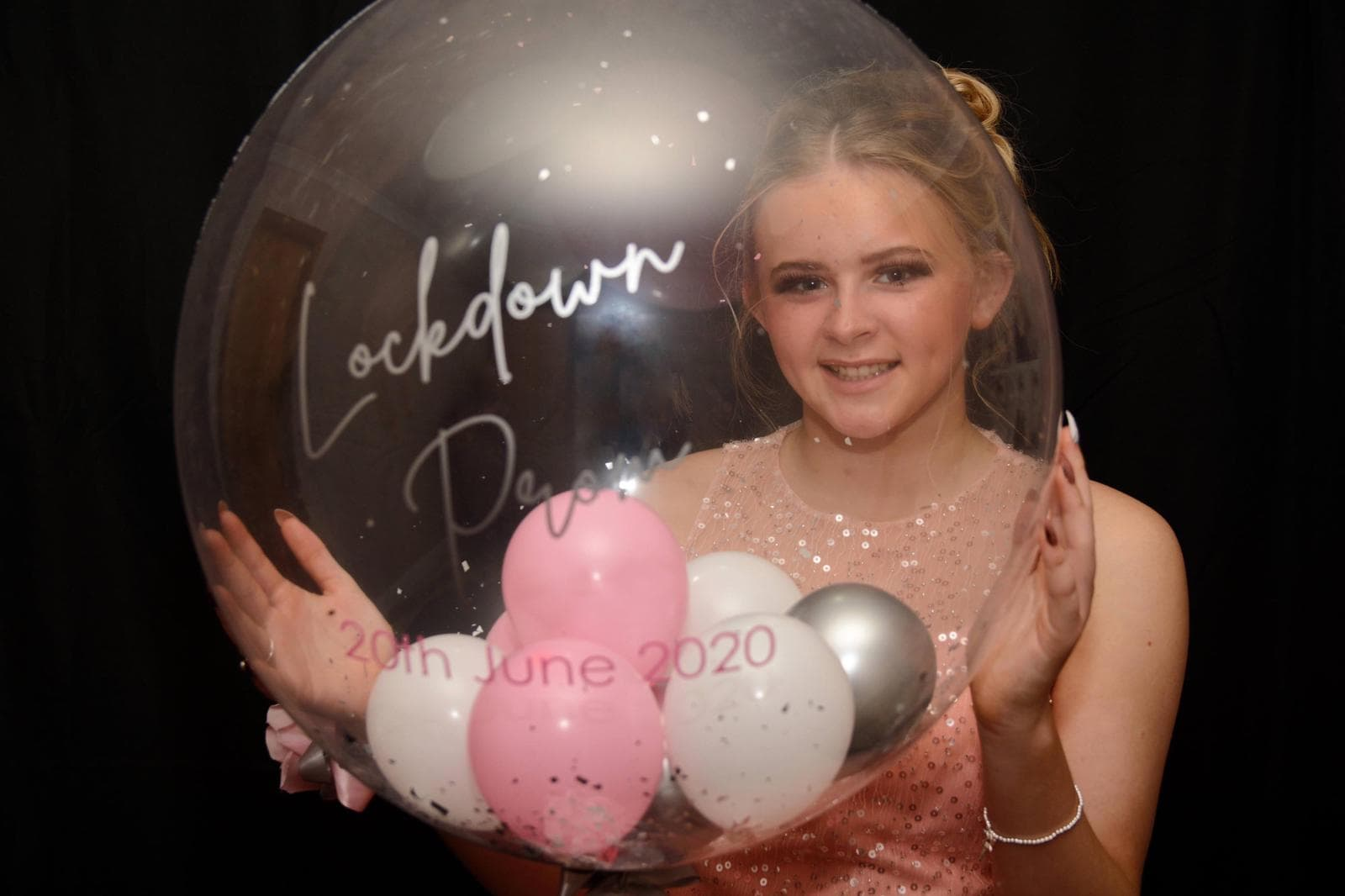 Libby Rhind from Buchanhaven Primary ready for the online prom.