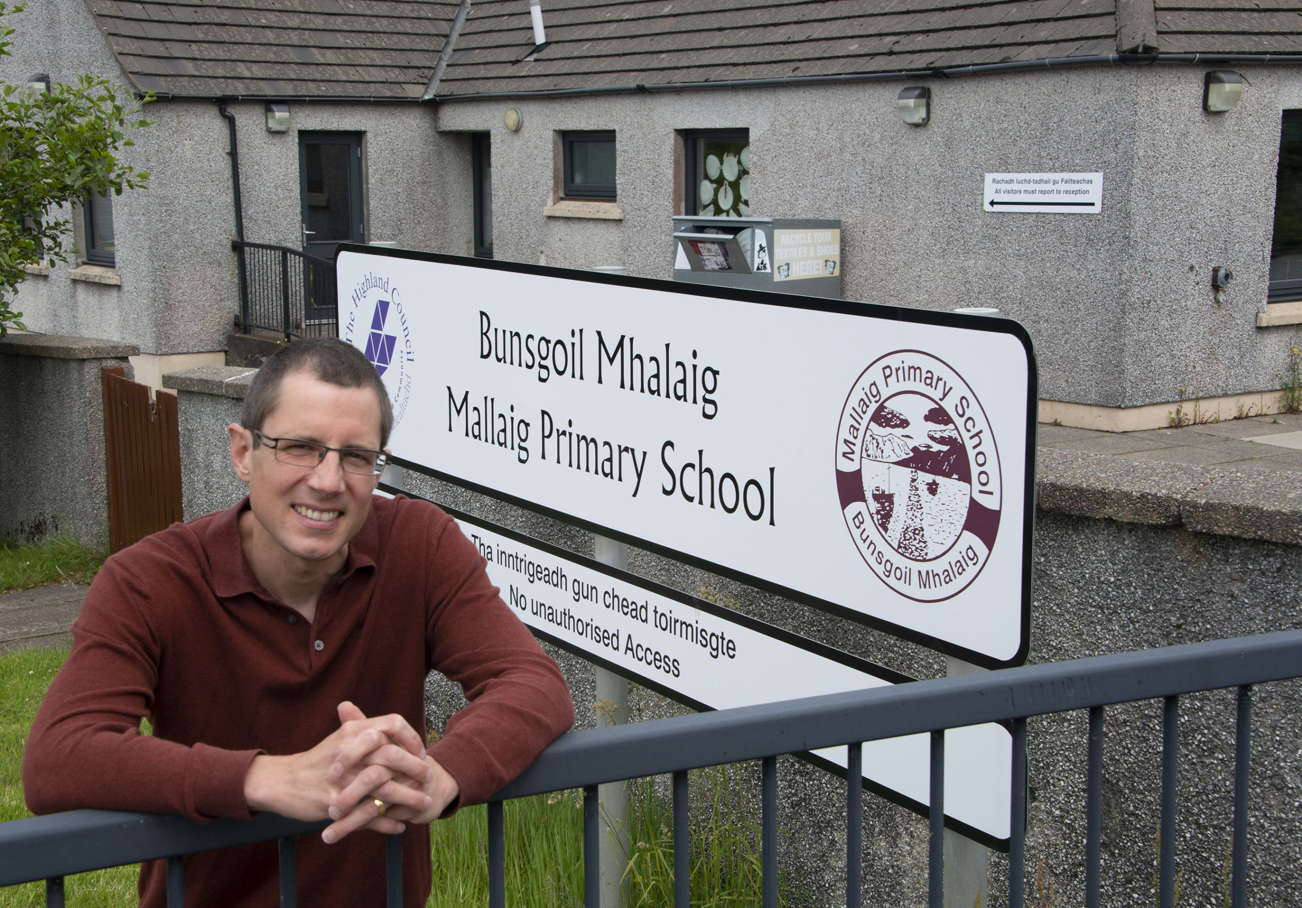 Rob Hamilton outside Mallaig Primary School. Picture by Iain Ferguson, The Write Image