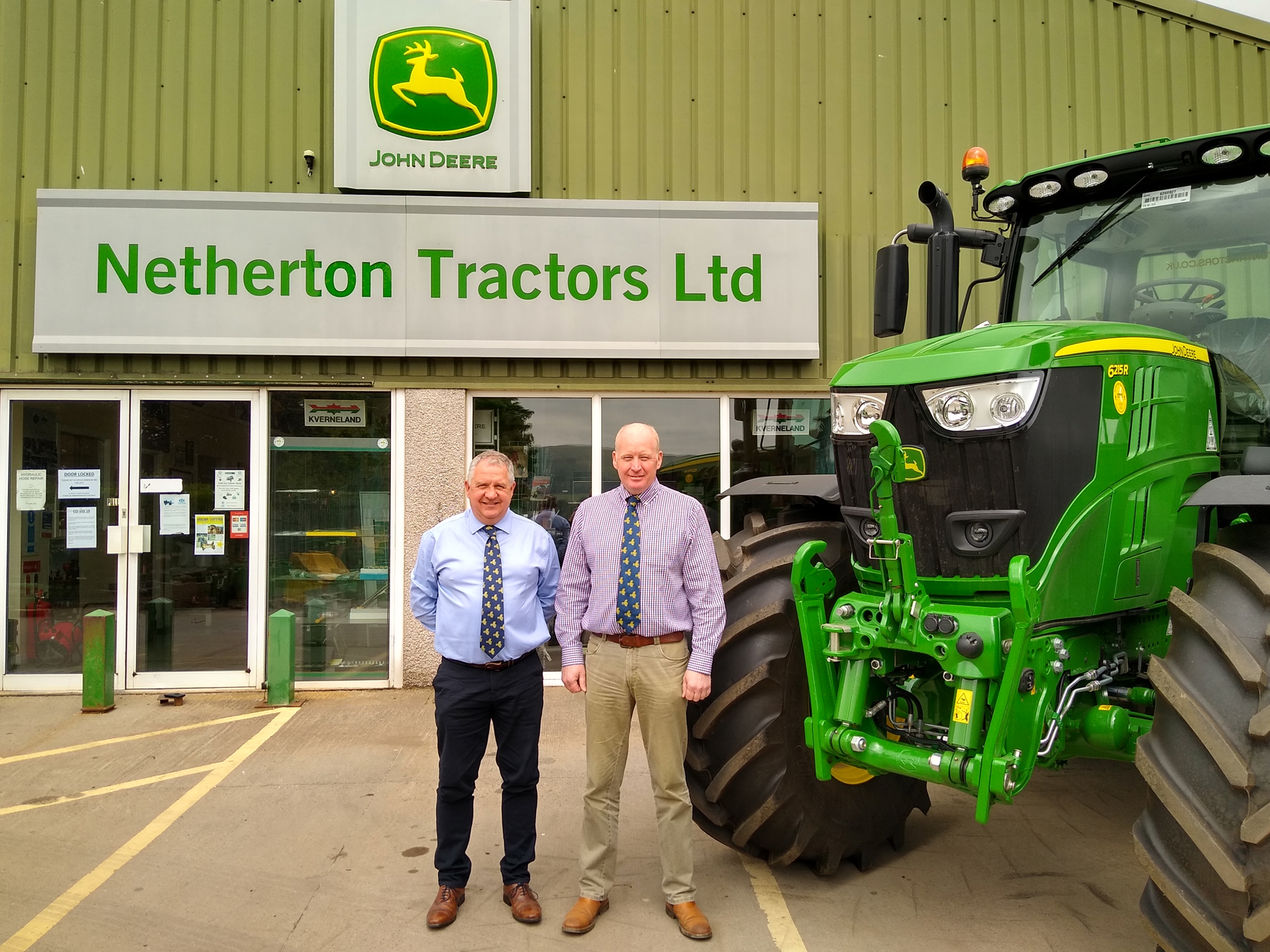 Managing director Harry Barclay, left, and general manager Garry Smith of John Deere dealership Netherton Tractors.