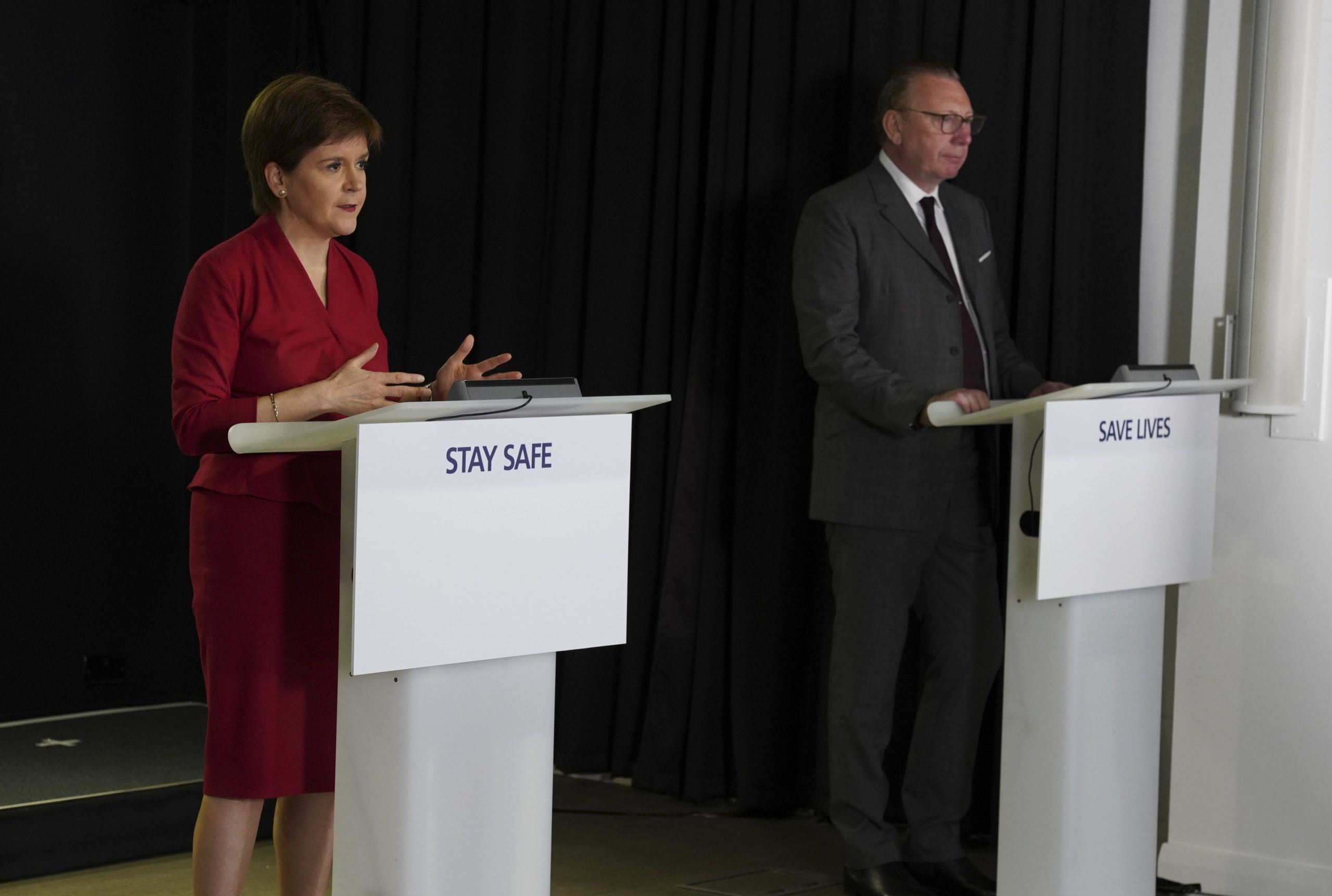 First Minister Nicola Sturgeon and Benny Higgins, former CEO of Tesco Bank.