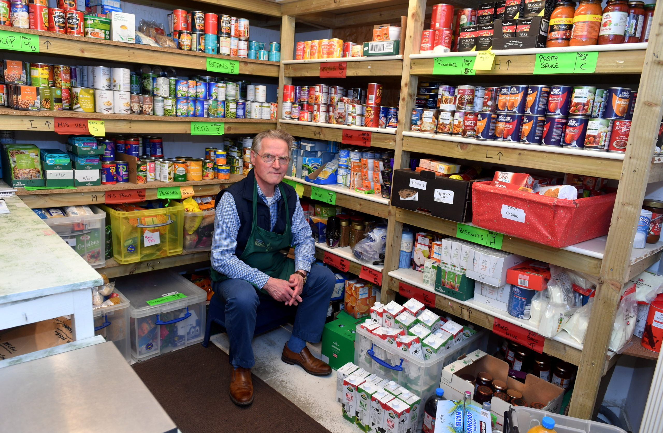 George Montgomery, Volunteer Coordinator, at the Aberdeenshire South Foodbank. Picture by Chris Sumner.