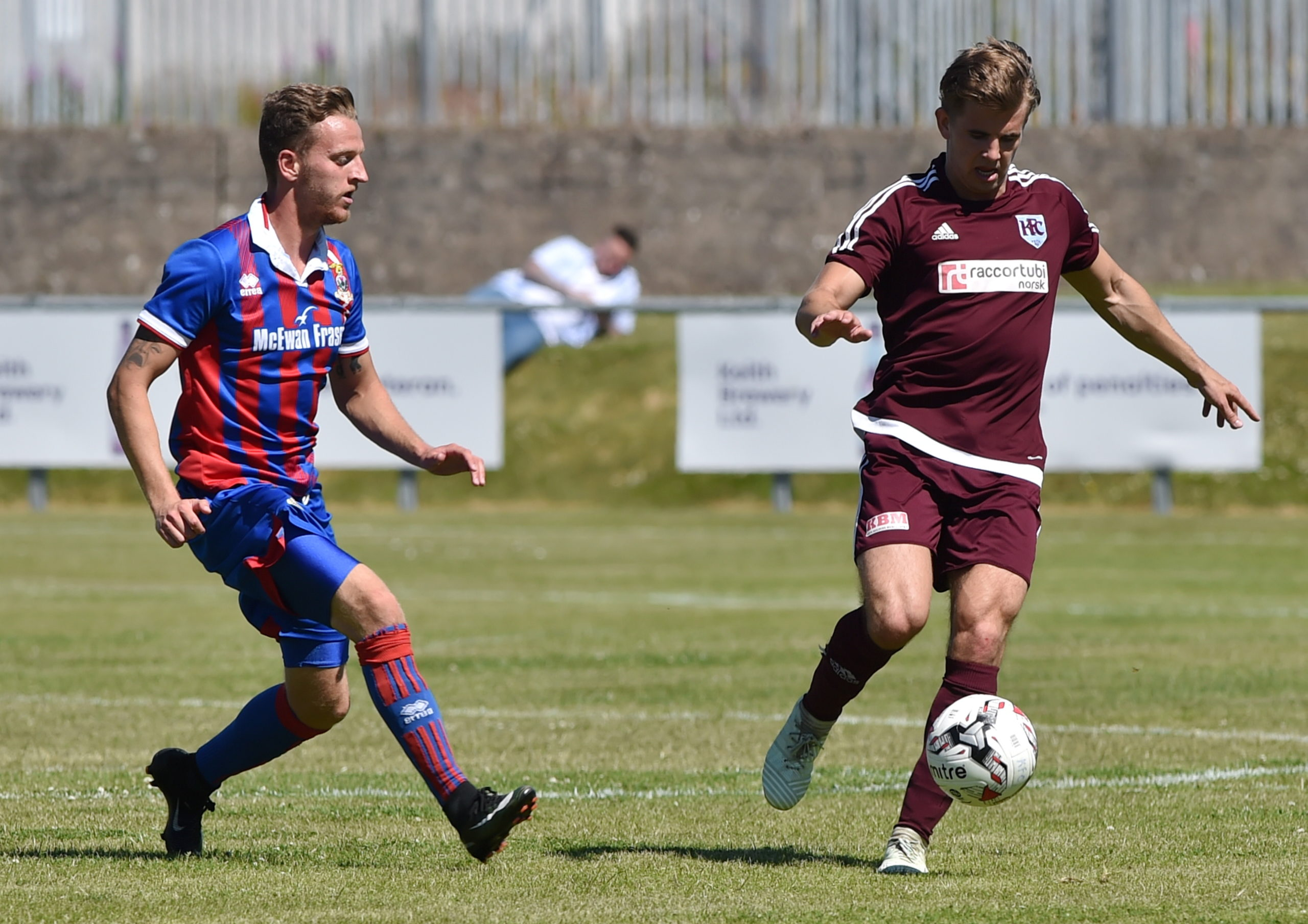 Ryan Keir takes on Caley Thistle's Tom Walsh in a pre-season friendly in 2018. Picture by Kenny Elrick
