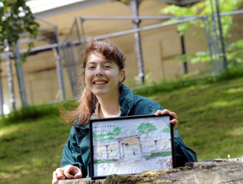 Sixth year pupil Harriet Dawson has painted Westburn House restored to its former glory. CR0021769 11/06/20 Picture by KATH FLANNERY