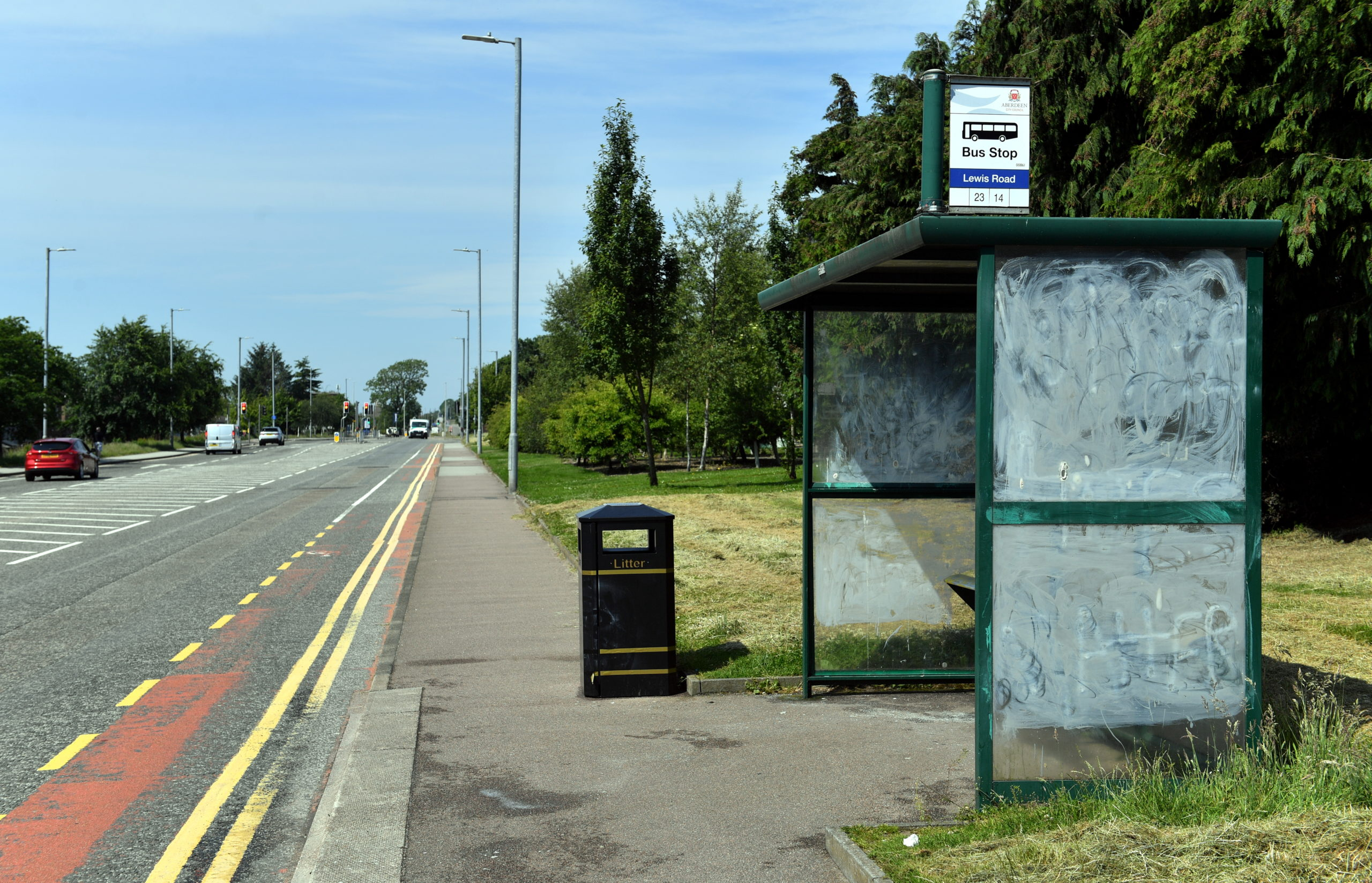 "CR0022034 A bus stop on the Lang Stracht, Aberdeen, which was spray painted with ""white lives matter"" graffiti.    Picture by Kami Thomson         25-06-2020"