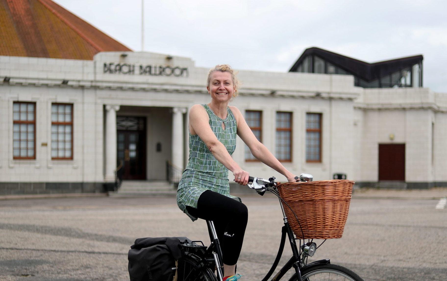 Chairwoman of Aberdeen Cycle Forum Rachel Martin at Aberdeen beach.
