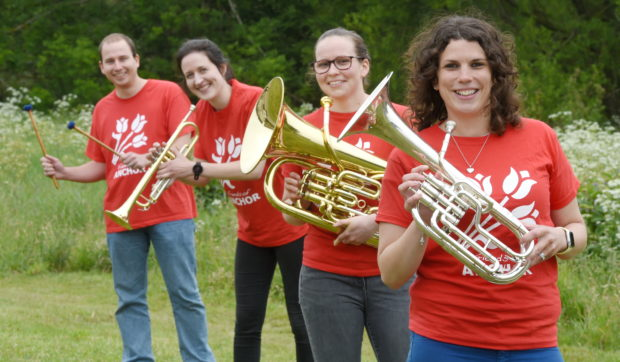 Members of Moray Concert Brass Steven Tubbs, Elizabeth Patterson, Louise Gray and Aileen Robertson.