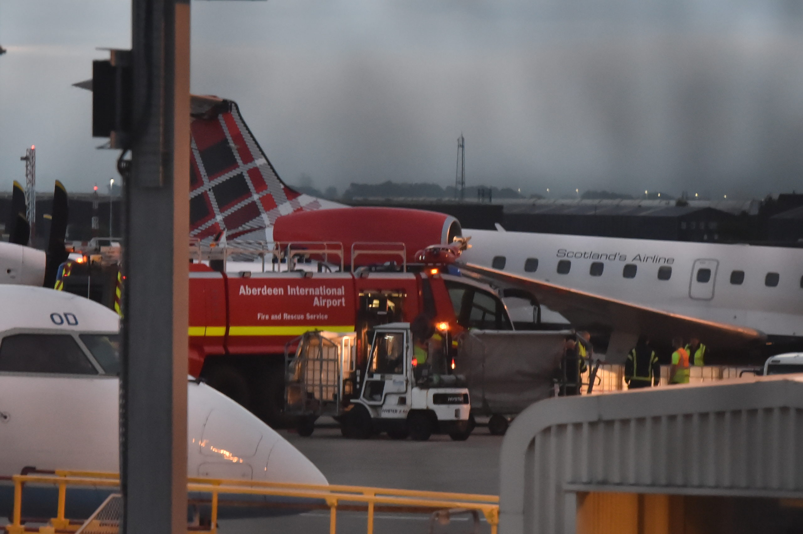 Aberdeen International Airport Fire and Rescue crews in attendance at the scene.