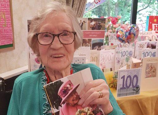 Margaret McConnachie enjoyed her 100th birthday at the Speyside Care Home in Aberlour despite the coronavirus lockdown.